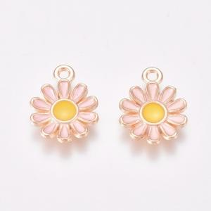 Emaille bedel bloem pink, per stuk