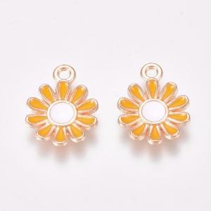 Emaille bedel bloem yellow, per stuk