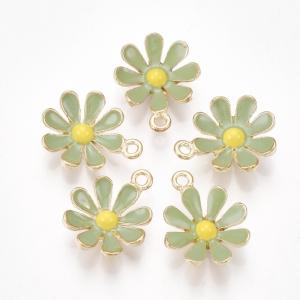 Emaille bedel bloem dark sea green, per stuk