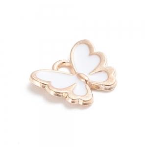 Emaille bedel vlinder white, per stuk
