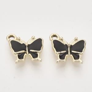 Emaille bedel vlinder black, per stuk