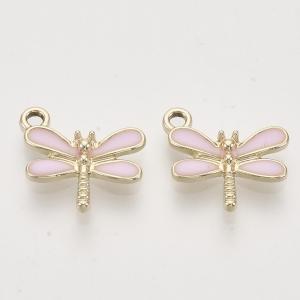 Emaille bedel libelle pink, per stuk