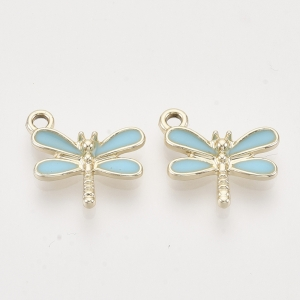 Emaille bedel Libelle turquoise, per stuk
