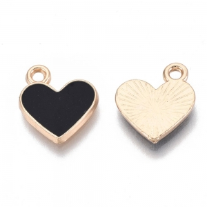 Emaille bedel hart zwart, per stuk