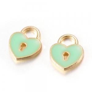 Emaille bedel hart groen, per stuk