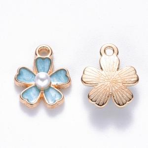 Emaille bedel bloem blue, per stuk