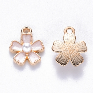 Emaille bedel bloem white, per stuk