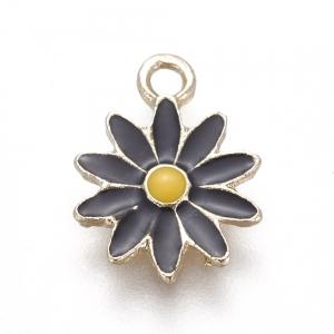 Emaille bedel bloem black, per stuk
