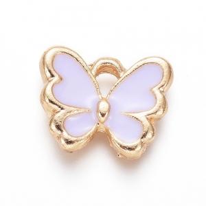 Emaille bedel vlinder purple, per stuk