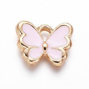 Emaille bedel vlinder pink, per stuk