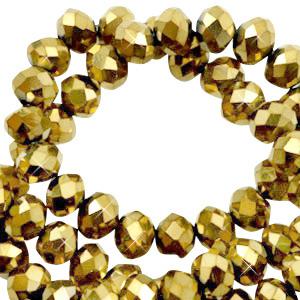 Facet kralen 3x2mm gold metallic, 50 stuks