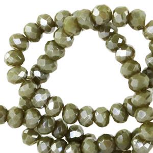 Facet kralen 3x2mm military green pearl, 50 stuks