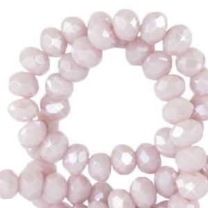 Facet kralen 3x2mm soft rose ash pearl, 50 stuks