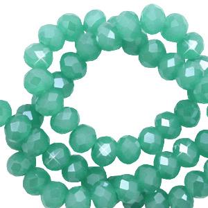 Facet kralen 3x2mm light malachite green pearl, 50 stuks
