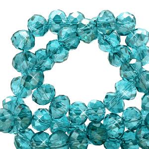 Facet kralen 3x2mm viridian green pearl, 50 stuks