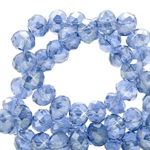 Facet kralen 3x2mm cerulean blue pearl, 50 stuks
