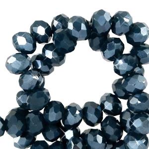 Facet kralen 3x2mm midnight blue pearl, 50 stuks
