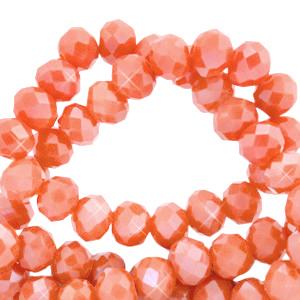 Facet kralen 3x2mm light pumpkin orange pearl, 50 stuks