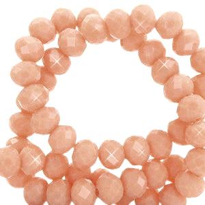 Facet kralen 3x2mm dusty peach pearl, 50 stuks