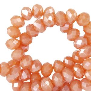 Facet kralen 3x2mm vintage amber orange pearl , 50 stuks