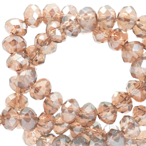 Facet kralen 3x2mm champagne beige pearl, 50 stuks