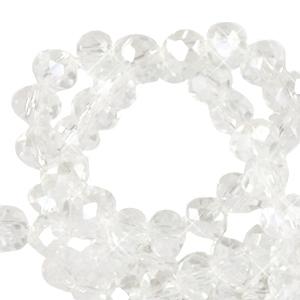 Facet kralen 3x2mm crystal pearl, 50 stuks