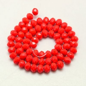 Facet kralen 3x2mm deep red, 50 stuks