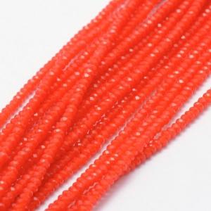 Facet kralen 3x2mm orange red, 50 stuks
