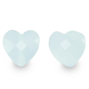 Fashion facet kraal hart icy blue, per stuk