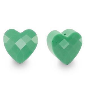 Fashion facet kraal hart green, per stuk