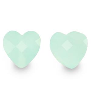 Fashion facet kraal hart jade green, per stuk