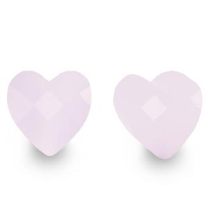 Fashion facet kraal hart pastel lillac, per stuk