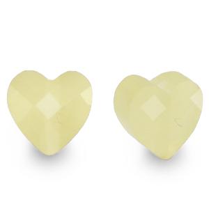 Fashion facet kraal hart vanilla yellow, per stuk