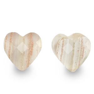 Fashion facet kraal hart glitter crystal, per stuk