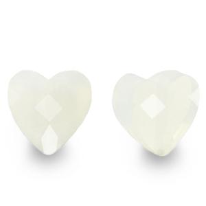 Fashion facet kraal hart milky white, per stuk