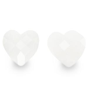 Fashion facet kraal hart white, per stuk
