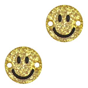 Acrylaat tussenstuk smiley gold glitter, per stuk