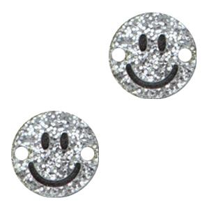 Acrylaat tussenstuk smiley silver glitter, per stuk
