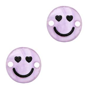 Acrylaat tussenstuk smiley hearts shiney lilac puple, per stuk