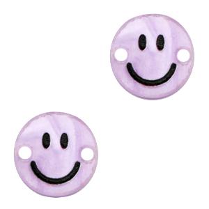 Acrylaat tussenstuk smiley shiny lilac purple, per stuk