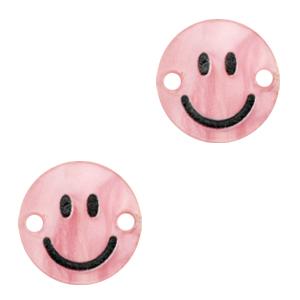 Acrylaat tussenstuk smiley shiny azalea pink, per stuk