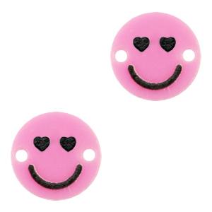 Acrylaat tussenstuk smiley hearts pink, per stuk
