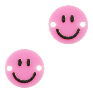 Acrylaat tussenstuk smiley pink, per stuk