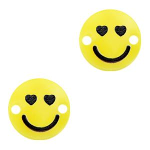 Acrylaat tussenstuk smiley hearts sunrise yellow, per stuk