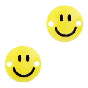 Acrylaat tussenstuk smiley sunrise yellow, per stuk