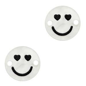 Acrylaat tussenstuk smiley hearts shiny white, per stuk