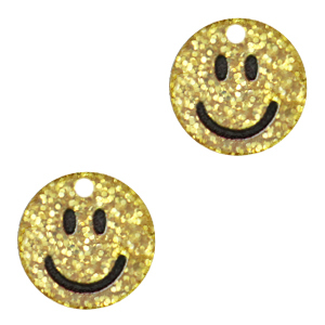 Acrylaat bedel smiley gold glitter, per stuk