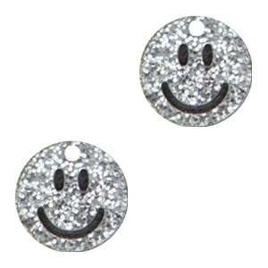 Acrylaat bedel smiley silver glitter, per stuk