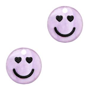 Acrylaat bedel smiley hearts shiny lilac puple, per stuk