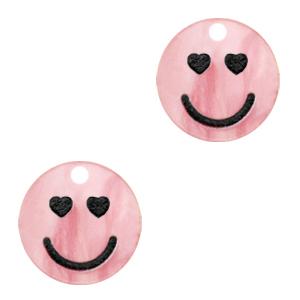 Acrylaat bedel smiley hearts shiny azalea pink, per stuk